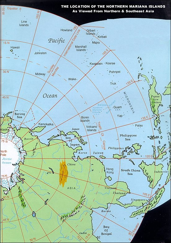 The location of the Northern Mariana Islands as viewed from Northern and Southeast Asia